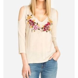 NWT Johnny Was Cold Shoulder Embroidered Top